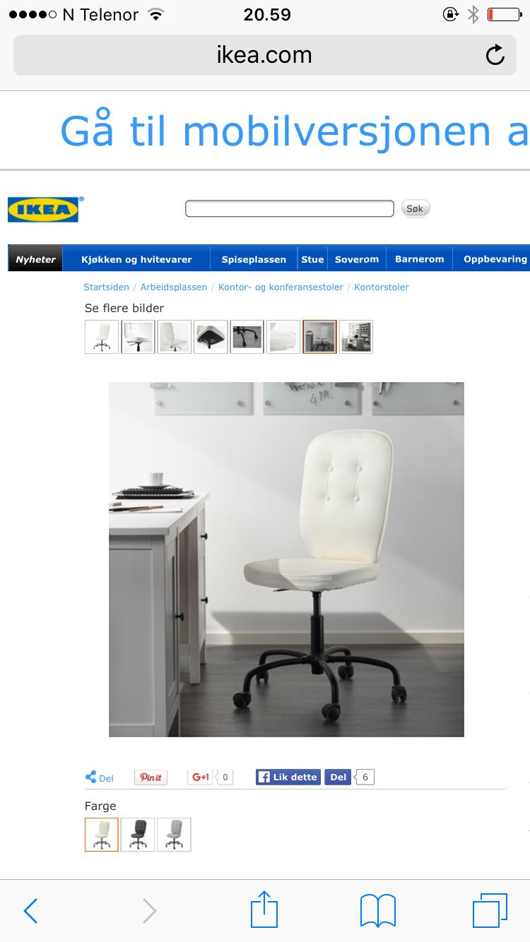 Beigelyshvit kontorstol? (Les HI) Hus og hage